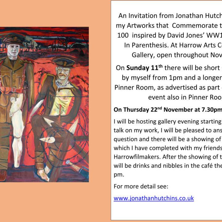Exhibition at Harrow Arts Centre over Armistice 100 Commemoration